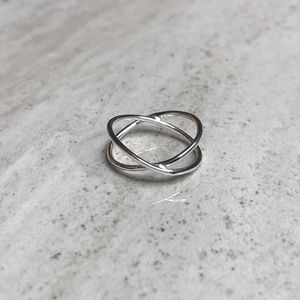 Jewelry - 925 Sterling Silver Double Cross Midi Ring